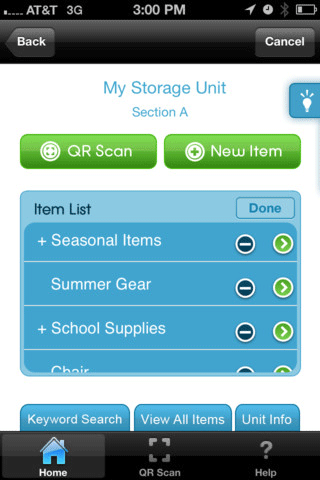 Screenshot of SmartStop inventory Tracker